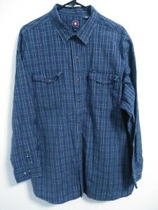 Panhandle Slim Mens Size XXL Blue Plaid Cotton Snap Up Long Sleeve Western Shirt