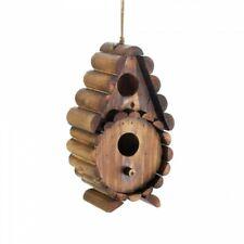 Home Garden Decor Round Log Hanging Bird House Birdhouse Wood