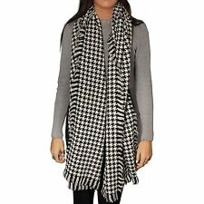 Ladies Large Warm Black and White Houndstooth Design Scarf