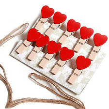 10 pcs Mini Hearts Wooden Pegs Photo Clips Craft Wedding Party Decora US
