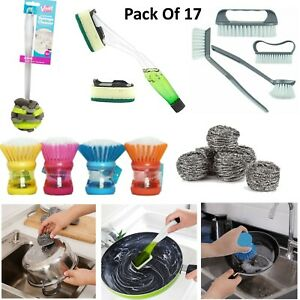 17Pcs Kitchen Gadgets Set-Soap Dispensing Scrubber,Scourers,Sponge Cleaner,Brush