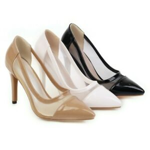 Ladies Sexy Pointed Toe Court Shoes Plus Size High Heel Formal Shoes Dress Pumps