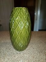 Olive Green Ceramic 11 in. Woven Pattern  Large Pottery Floral Vase EUC