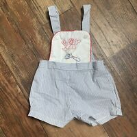Baby Boy Vintage Overalls Embroidered Boy Baseball Striped