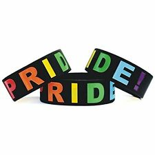 """Gay Rainbow Pride LGBT Support 1"""" Silicone Wrist Band Bracelet Wristband"""