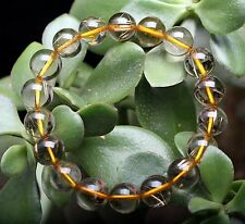 11mm Natural Clear Gold Rutilated Quartz Crystal  Round Bead Hand catenary