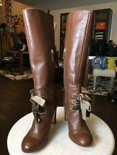 Red Valentino IT 40 Brown Leather Knee High Velvet Lace up Boots - NIB