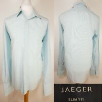 "Jaeger Blue White Stripe Long Sleeve Shirt Size L 17"" Collar Work Cufflinks"