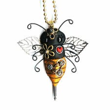 Steampunk Bee Necklace Polymer Clay Jewelry Gears Metal Wings Ball Chain