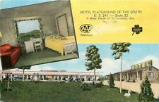 Guntersville AL~Motel Playground Of The South~Swings~Slide~Room~1950s Postcard