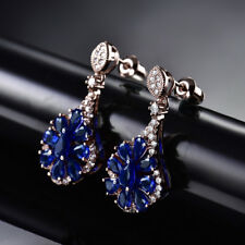HUCHE Rose Gold Filled Flower Blue Sapphire Gemstone Lady Party Dangle Earrings