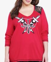 New Torrid Goth Red Heart Bow Daggers Peekaboo Lace Shoulder V-Neck Top 2x