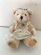 BIRTHSTONE TEDDY BEAR DECEMBER BLUE ZIRCON STUFFED PLUSH LACE DRESS
