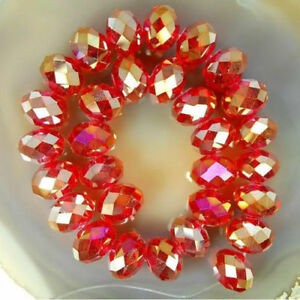 298PCS 4*6MM Wholesale Faceted Crystal Gemstone Loose Beads -Red AB