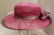 Vintage NWT Mr. John Classic Women's Size Small Fuschia Wide Brim Hat with Bow
