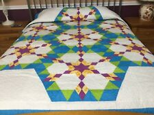 Twin size  machine pieced and quilted  Patchwork quilt J-41
