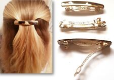2 x Gold French Hair Clips Barrettes Accessories Clips Slides Hair Grip Clamp