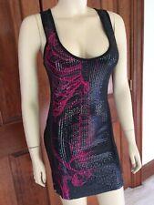 Iron Fist Wishbone Skeleton Black and Pink Sequin Tank Dress Medium