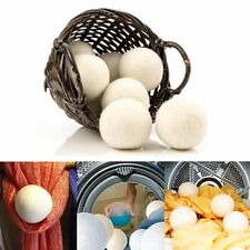 6-Pack Wool Dryer Balls Natural Fabric Virgin Reusable Softener Laundry 7cm Hot