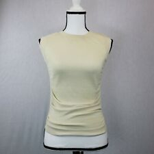 HELMUT LANG WOMENS BEIGE SLEEVLESS GATHERED MESH TOP RIBBED NECKLINE SIZE XS EUC