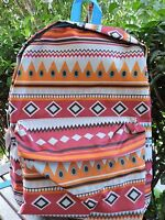 "Large AZTEC BACKPACK School Campus Book Bag Travel Dance Gym Pink Blue 17"" NEW"