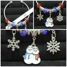 OOK Handmade Open Bangle Snowman People Pair Snowflakes & Red & Blue Beads #20