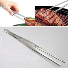 4Size Multipurpose Stainless Steel Long Food Tongs Straight Tweezer Kitchen Tool