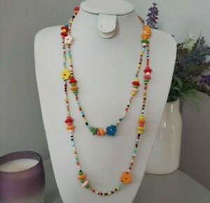 Retro Bohemian Multi Coloured Bright Wood Beaded Flowers Mixed Long Necklace