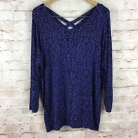 Soma Womens Blue Black Long Sleeve Blouse Size Large