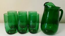Vtg Forest Green Pitcher & Glasses (7pcs) * Anchor Hocking *  Holiday Charmer