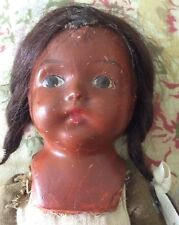 Vintage antique small mulatto composition shoulder head jointed cloth bodiy doll