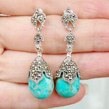 E843 Boucles d'oreilles Style Art Déco Argent Massif 925 Turquoises Marcassites