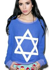wildfox couture sweatshirt, star of david, baggy beach jumper, blue, new, s. xs