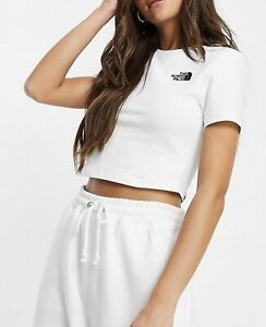 New Women's The North Face 100% Cotton Simple Dome Cropped T-shirt White-size XL