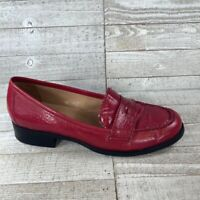 Franco Sarto Womens Penny Loafer Flat Shoes Red Block Heels Leather Slip Ons 7 M