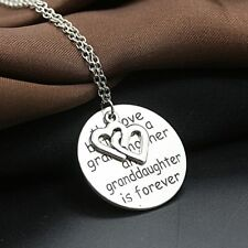 Granddaughter Jewelry Alloy Letters Grandmother Pendant Necklace Carved Round