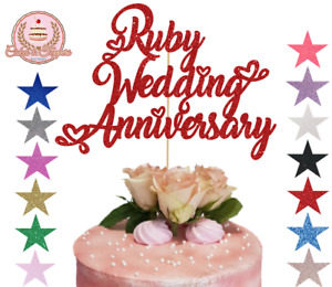Ruby Wedding Anniversary Glitter Cake Topper 40th Wedding Romantic Hearts