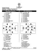 Teamsheet - Manchester United v CSKA Moscow 2015/16 (3 Nov UEFA Champions League