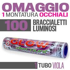 100 BRACCIALETTI LUMINOSI VIOLA fluo DJ starlight strobo BRACCIALI LUCE 30338