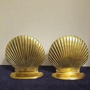 VTG Pair Brass Sea Shell Clam Shell Bookends Taiwan