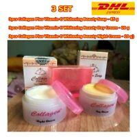3Set Whitening Collagen Vitamin-E Face Soap Cream Night + Day Care Acne Skin