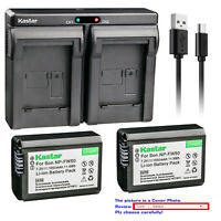 Kastar NP-FW50 Battery Charger for Sony Alpha NEX-7 DSC-RX10 II III 7SM2 ILCE-7R