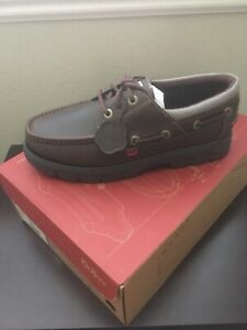 Kickers Lennon boat shoe pull up leather