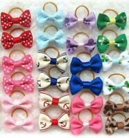 50pcs New Assorted Pet Cat Dog Hair Bows with Rubber Bands Grooming Acces.w G9I6