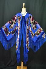 Classic Navy Blue Eastern Flower Sheer Burnout Velvet Fringe Jacket Coat Duster
