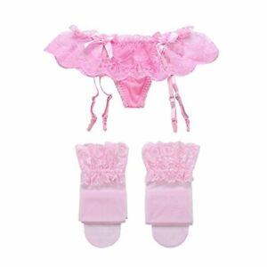 Cszxx Women's Lace Garters Suspender Belt and Stocking Sets (Pink)