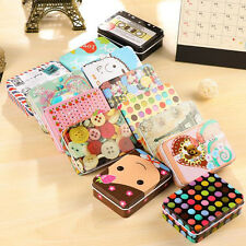 Mini Tin Metal Container Small Rectangle Lovely Storage Box Case Pattern Pop
