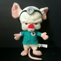 "Pinky and the Brain - Brain Lab Coat Plush, Warner Bros Vintage 1997 Stuffed 12"""