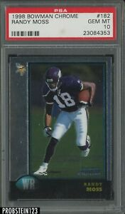 1998 Topps Chrome #182 Randy Moss Minnesota Vikings RC Rookie PSA 10
