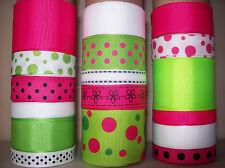 New listing Lot Of 17 Yds. Of Grosgrain Ribbon - White - Apple Green - Pink - B25N